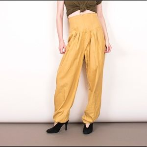 Vintage 80s mustard yellow high waist trouser pant